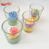 Fertigkeit-Glasglas-Kerze mit Blumen-Quadrat
