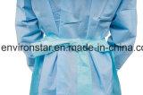 Color de médicos de poliéster de plástico desechables PE delantal de LDPE
