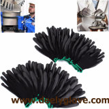 Gants enduits noirs de sûreté de paumes noires d'unité centrale de gants de nylon/polyester