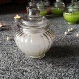 Weiße Lilien-Aroma-hochwertige Glasglas-Kerze mit Kennsatz