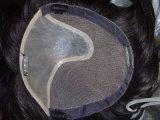 Virgem de cabelo humano Swiss Lace Toupee com PU colisão frontal