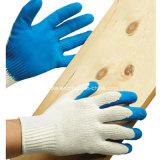 """Ce синего цвета """"мятым"""" эффектом с покрытием из латекса белый хлопок перчатки"""