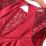 Robe-Wein-Rot-Abend-Kleidhandgemachte Sequins-elegantes Abend-Kleid