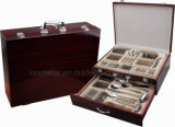72PCS con Wooden Caso Stainless Steel Tableware Flatware Cutlery Set