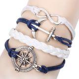 Weinlese-mehrschichtiges Charme-Leder-Armband für Frauen