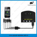 système de d'éclairage solaire à la maison portatif de panneau solaire de 4W 11V avec le chargeur de téléphone mobile de 2 lumières