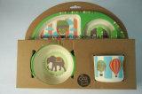 Impressão animais bebé Dinnerware de fibra de bambu define com quatro pedaço