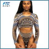 長い袖ヨーロッパおよびアメリカ様式の方法ビキニの水着の皮ひも