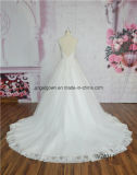 Платье венчания задней части иллюзиона безрукавный мантии шарика шнурка шикарное