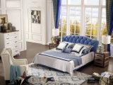 2017 حديثة سرير غرفة أثاث لازم [ووودن فرم] جلد سرير ليّنة