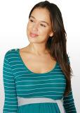 El verde azulado y rayas de plata vestidos de Maternidad de bambú