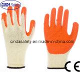 Cinda 10 Met een laag bedekte het Tuinieren van het Latex van het Garen van de Maat T/C Palm Handschoenen