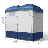 屋外のキャンプの防水着服の更衣室によっては洗面所のシャワーのテントが現れる