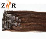 Clip drenado doble brasileño del pelo del color oscuro en pelo humano