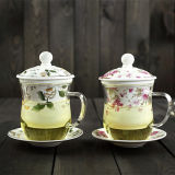 Taza de té del vidrio de Borosilicate con los regalos de cristal de cerámica de la taza de té de Infuser
