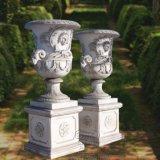 Hand geschnitzte grüne MarmorFlowerppot Urne mit Unterseite, für Garten-Dekoration