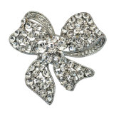 Moda Prata Banhado a Strass Bow Design Lady Brooch