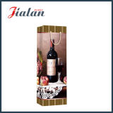 saco de papel laminado lustroso do presente do frasco de vinho do papel de arte 128GSM