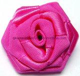 Curvas artificiais da fita de Rosa da flor de Rosa do cetim para acessórios do vestuário