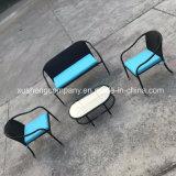 4pcs Mohairsder acero muebles de ratán establecido por la tabla+sillas