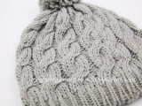 Sombrero hecho punto cable del acrílico del 100% con el Pompom