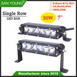 7 pouces rangée simple 30 W CREE LED Light Bar Offroad barre LED 4X4 LED feux de route