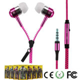 Cremallera de metal auricular con cable para iPhone / Smart Phone