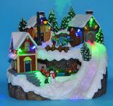 """LED 12"""" Scène de village avec trois mouvements, déplaçant le patinage, danser les gens, les enfants jouer au hockey, huit chansons de Noël"""