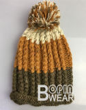 Custom POM теплой зимой трикотажные Beanie женщин Red Hat