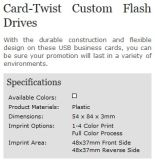 Scheda-Twist Custom Promotional Flash Drives con Full Color Print Your Company Logo (ALP-029U-2)