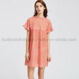 La mode à damiers Plaid Mini robe de vêtements des femmes