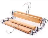Высокое качество деревянные вешалки с помощью зажимов брюки подвес