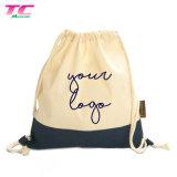 Nova Tendência Eco-Friendly Tirar o saco de cadeia de marca personalizada mochila de algodão Natural Saco para roupa suja para venda por grosso
