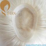 Toupee biondo di colore personalizzato parte dei capelli umani di 100%