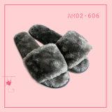 온난한 아름다운 실내 침실 견면 벨벳 열려있는 발가락 슬리퍼 TPR