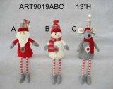 단추 다리가 있는 산타클로스 눈사람 및 마우스 의 3 Asst 크리스마스 선물
