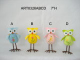 "6 ""H Hand Embroidered Owl-4asst-Easter Decoration"