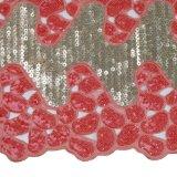 Merletto dentellare del Organza dei Sequins di Fushia doppio Handcut