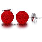 Acero inoxidable cuerpo de bola de cristal joyas Stud Earrings