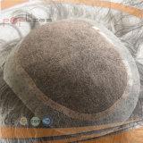 Парик Toupee Mens цвета полных человеческих волос шнурка серый