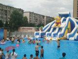 큰 수영장을%s 가진 주문을 받아서 만들어진 팽창식 재미있은 곰 물 미끄럼
