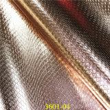 Couro metálico do falso do plutônio do teste padrão da serpente para sapatas do `S da senhora da forma