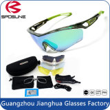 Cool Cool Green Frame Sports Glasses Anti-Strong Glare Ciclismo Óculos de sol com lente extra e estojo