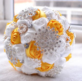 환상적인 주문을 받아서 만들어진 색깔 인공 꽃 모조 다이아몬드는 결혼식 꽃다발을 진주 모양이 되게 한다