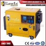 gruppo elettrogeno diesel elettrico a tre fasi insonorizzato silenzioso portatile 7kVA con quattro rotelle