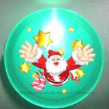 CusmtomのクリスマスのギフトプラスチックLEDボタンのバッジ(3569)