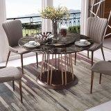 Tabela de jantar superior do aço inoxidável do mármore moderno da mobília da sala de jantar (LT2015)
