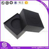 Boîte-cadeau faite sur commande de luxe noire de papier fabriqué à la main d'impression