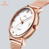 Mode-Dame-mechanische Uhr mit Ineinander greifen-Band 71291