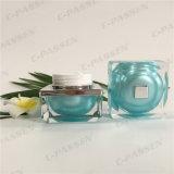 Blaugrünes Acrylsahneglas des Quadrat-15g für das Kosmetik-Verpacken (PPC-ACJ-093)